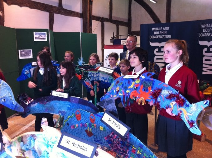 school children with dolphins and Chippenham Deputy Mayor