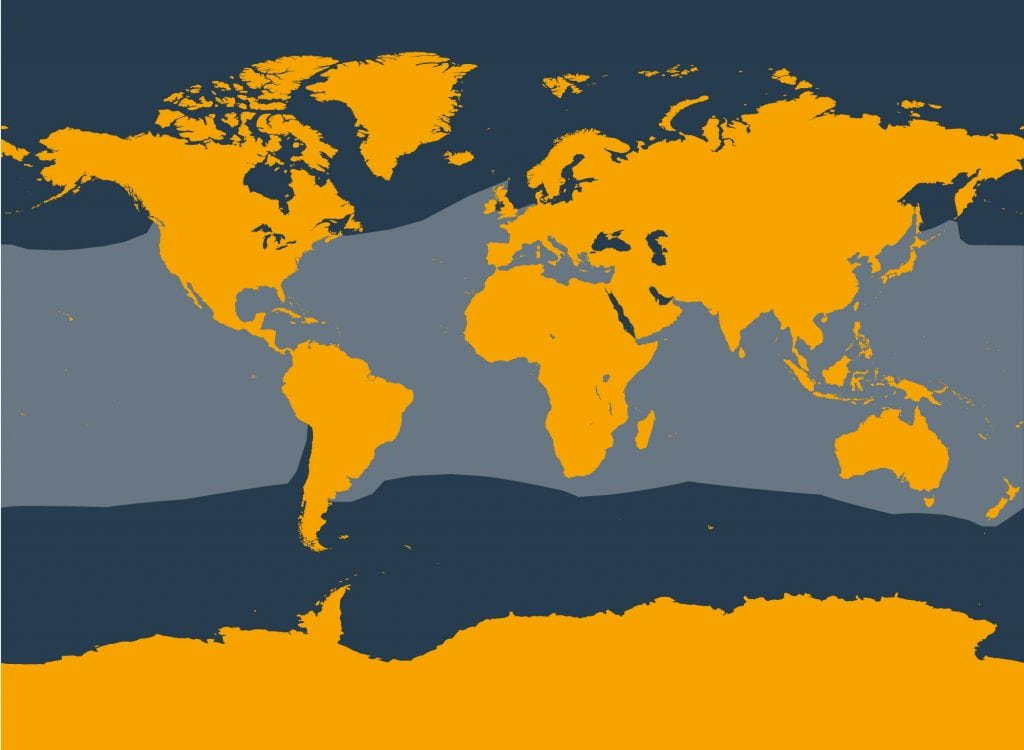 Striped dolphin distribution map